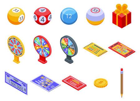 Lottery icons set, isometric style Ilustrace