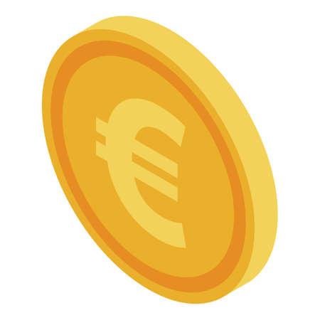 Euro fake coin icon, isometric style