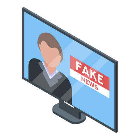 Tv fake news icon, isometric style Illustration