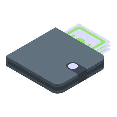 Money wallet icon, isometric style
