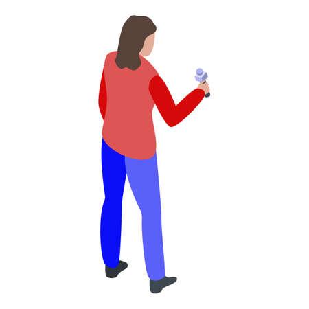 Woman reporter icon, isometric style Stock Illustratie