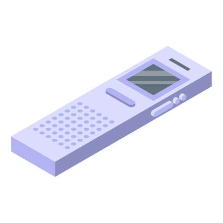 Reporter voice recorder icon, isometric style Illustration