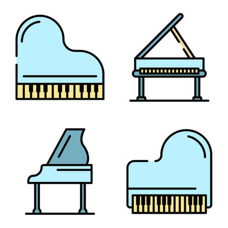 Grand piano icons vector flat