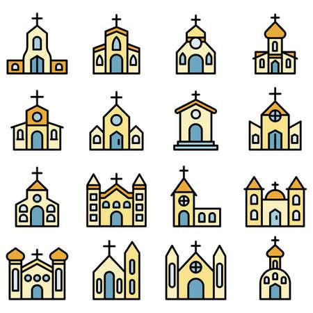 Church icons vector flat