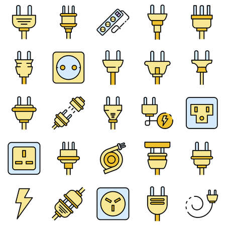 Plug wire icons vector flat