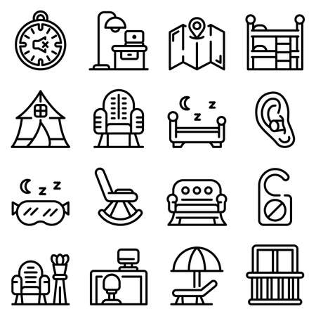Quiet spaces icons set, outline style
