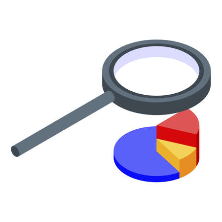 Reporter magnifier pie chart icon, isometric style