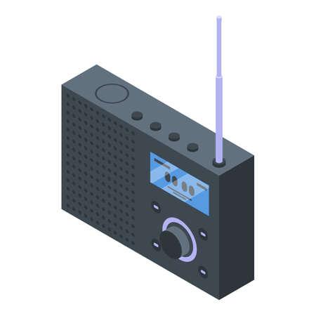 Radio news icon, isometric style