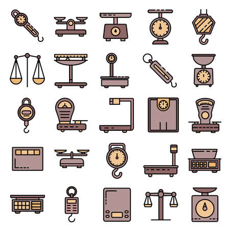 Weigh scales icons vector flat