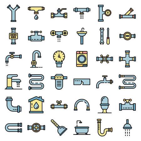 Plumbing icons vector flat