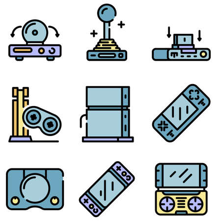 Game console icons vector flat