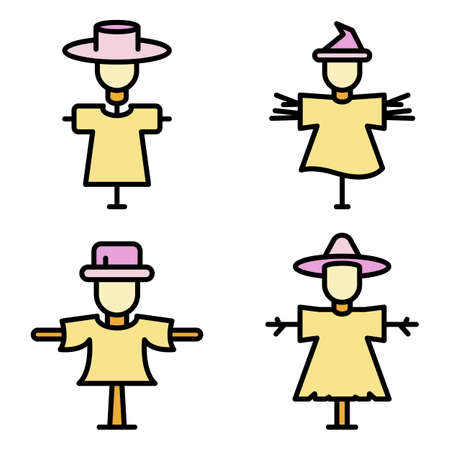 Scarecrow icons vector flat
