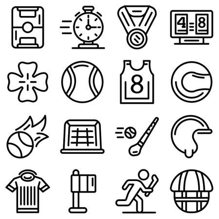 Hurling icons set, outline style