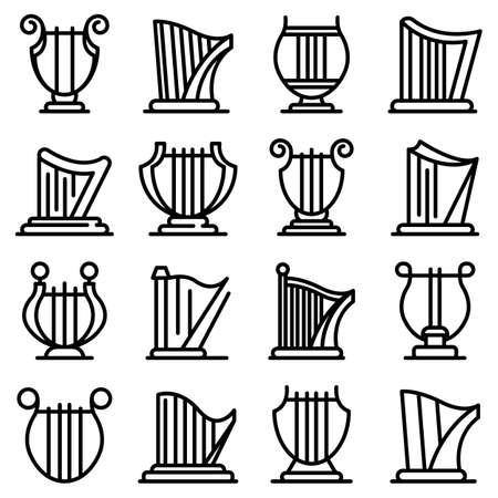 Harp icons set, outline style
