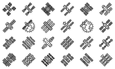 Space station icons set, outline style Ilustracja
