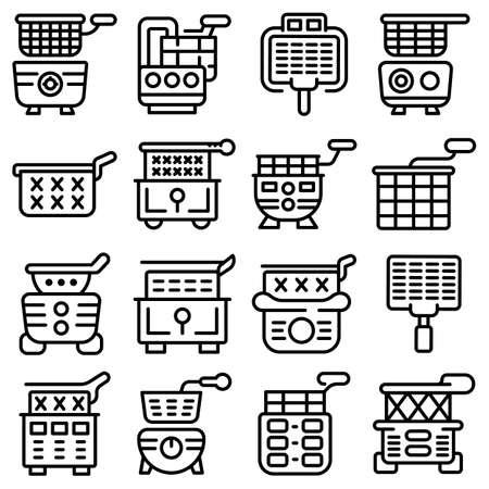 Deep fryer icons set, outline style Illustration