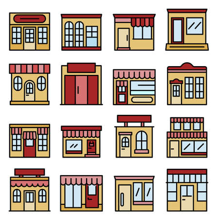 Local business icons vector flat