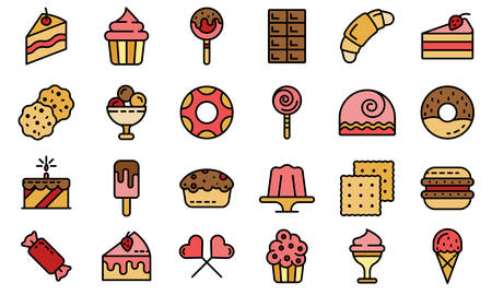 Confectionery icons vector flat Ilustrace