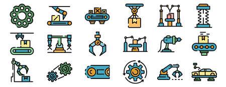 Assembly line icons vector flat Ilustração