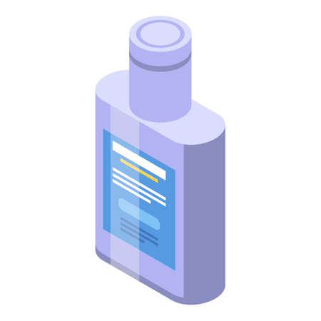 Flu medicine syrup bottle icon, isometric style 向量圖像