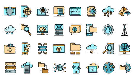 Hosting icons vector flat