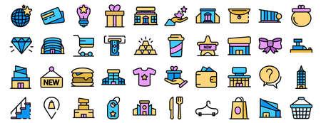 Mall icons vector flat Çizim