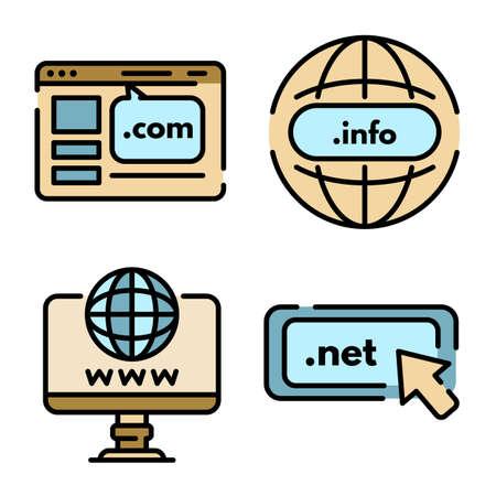 Domain internet icons vector flat