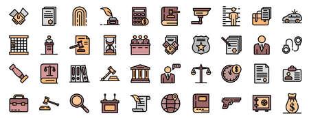 Lawyer icons vector flat Stock Illustratie