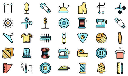 Tailor icons vector flat