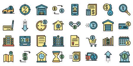 Lease icons vector flat Stock Illustratie