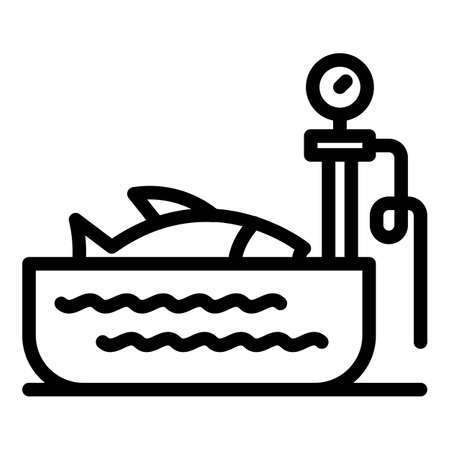 Fish on scales icon, outline style