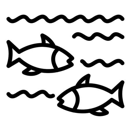 Fish in lake icon, outline style