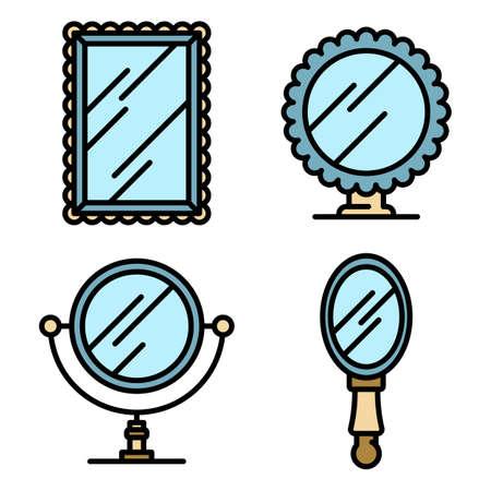 Mirror icons vector flat