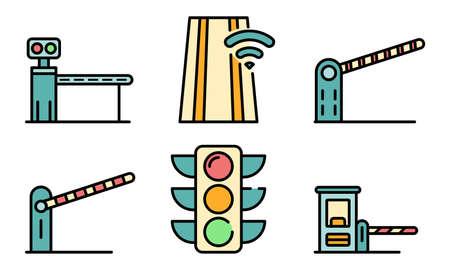 Toll road icons vector flat Ilustración de vector