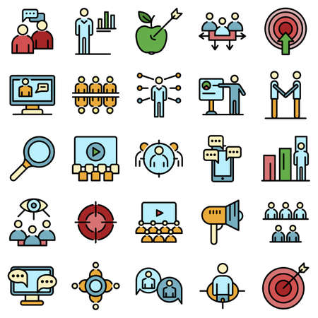 Audience icons vector flat
