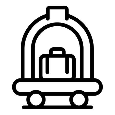 Hotel luggage cart icon, outline style