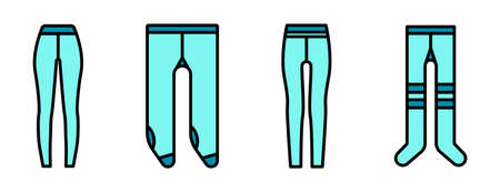 Tights icons set. Outline set of tights vector icons thin line color flat on white Vektorgrafik