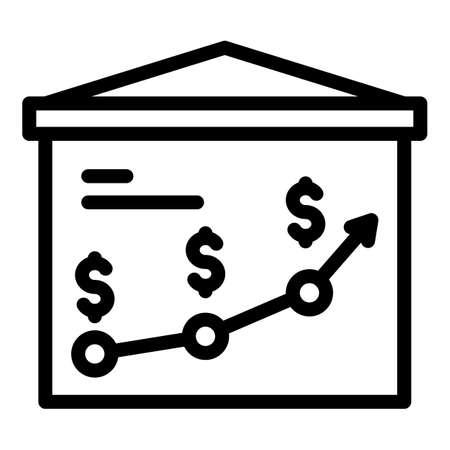Broker money banner icon, outline style