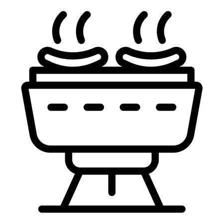 Sausages on grill icon, outline style