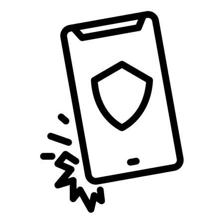 Cover protector phone icon, outline style