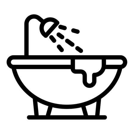 Leaking bathtub icon, outline style