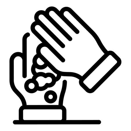 Foam hands icon, outline style Illustration