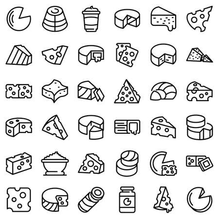 Cheese icons set, outline style