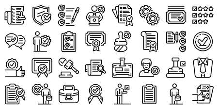 Quality assurance icons set, outline style