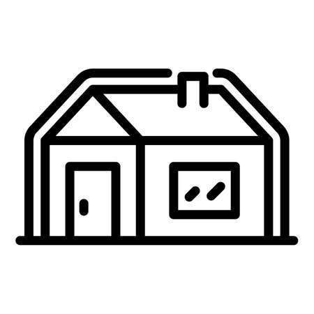 Insulated house icon, outline style