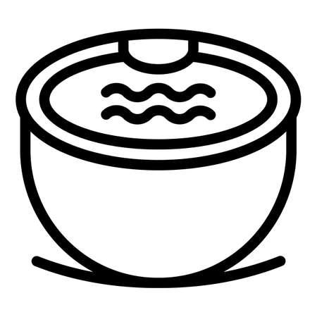 Round bathtub icon, outline style