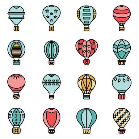 Air balloon icons vector flat Иллюстрация