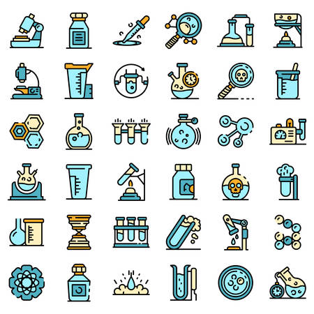 Chemical laboratory experiment icons vector flat 일러스트