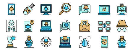 Hacker icons vector flat