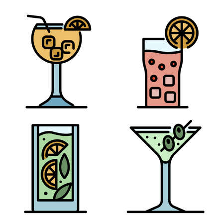 Cocktail icons vector flat